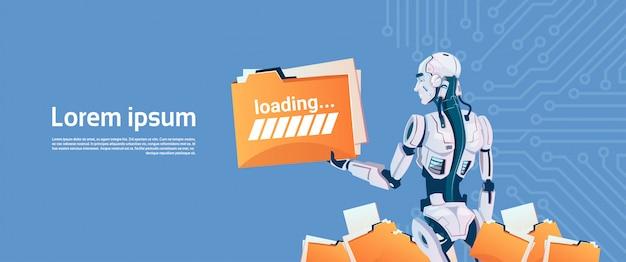 Modern robot hold loading file folder, futuristic artificial intelligence mechanism technology