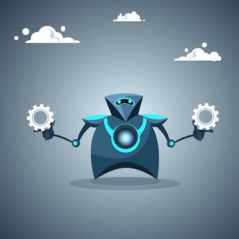 Modern robot holding cog wheel