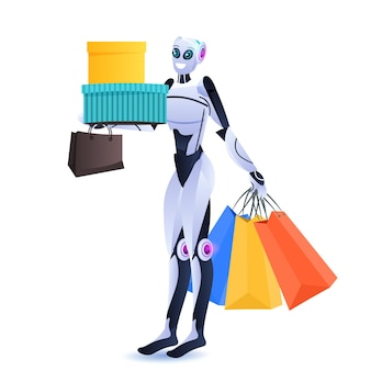 Modern robot holding colorful purchases shopping bags artificial intelligence technology concept