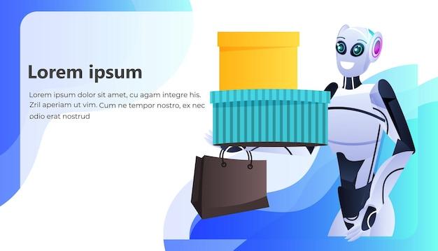 Современный робот держит красочные покупки сумки для покупок концепция технологии искусственного интеллекта