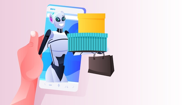 Modern robot holding colorful purchases shopping bags on smartphone screen artificial intelligence technology concept