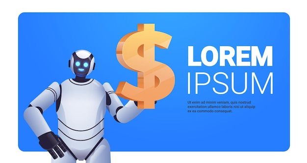 Modern robot holding dollar icon saving money and getting profit high income investment earning financial growth artificial intelligence