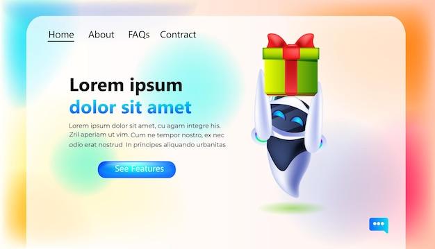 포장된 선물 상자를 들고 현대 로봇 생일 또는 휴일 축하 인공 지능 개념 전체 길이 가로 복사 공간 벡터 일러스트 레이 션