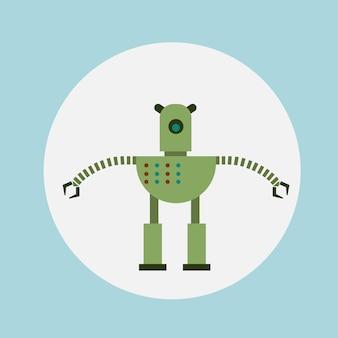 Modern robot icon cartoon, futuristic artificial intelligence mechanism technology