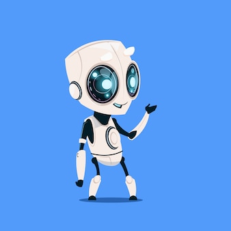 Modern robot isolated on blue background cute cartoon character artificial intelligence concept