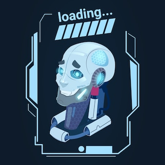 Modern robot loading futuristic artificial intelligence mechanism technology