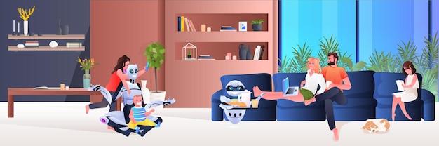 Современная робот-няня проводит время с детьми робот-официант, подающий еду для родителей, концепция технологии искусственного интеллекта, интерьер гостиной, полная горизонтальная векторная иллюстрация
