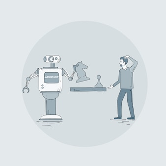 Modern robot playing chess with man icon, futuristic artificial intelligence mechanism technology
