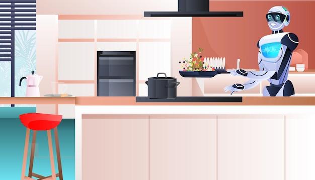 キッチン人工知能技術の概念で健康野菜サラダを準備する現代のロボット