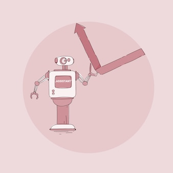 Modern robot putting financial graph arrow up icon, futuristic artificial intelligence mechanism technology