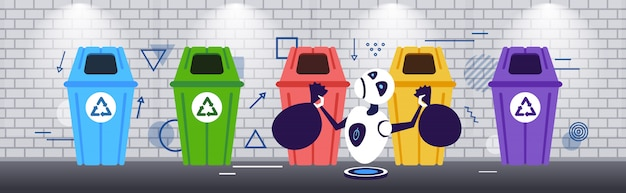 Modern robot putting garbage bags in different types of recycling bins segregate waste sorting management artificial intelligence concept sketch horizontal full length