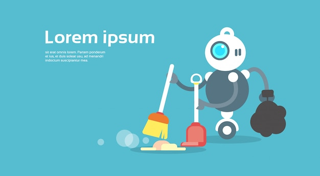 Modern robot sweeping floor artificial intelligence technology concept