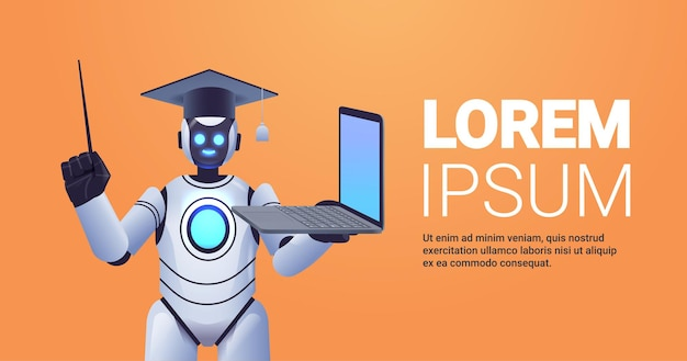 Modern robot teacher in graduation cap holding laptop online education artificial intelligence