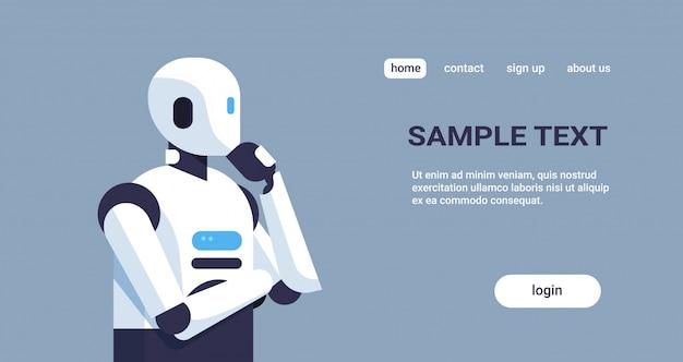 現代のロボット思考のランディングページテンプレート
