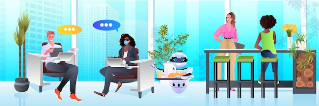 Modern robot waiter serving food to businesspeople in office artificial intelligence technology concept