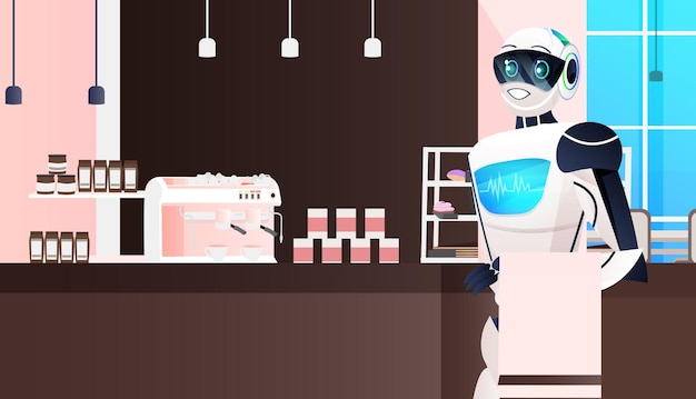 Современный робот официант стоит в кафе концепция технологии искусственного интеллекта ресторан интерьер горизонтальный портрет
