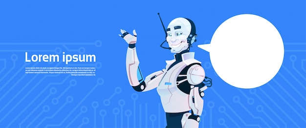 Modern robot with chat bubble, futuristic artificial intelligence mechanism technology