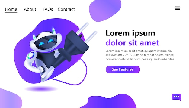 Modern robot with electric plug running out of charge artificial intelligence technology charging connection concept full length horizontal copy space vector illustration