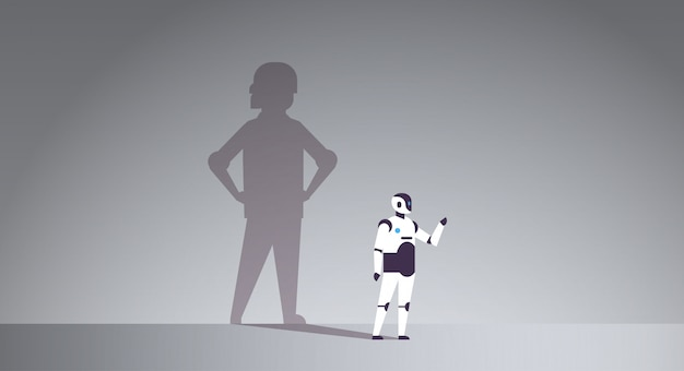 Modern robot with shadow of human