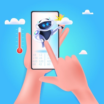 스마트폰 화면 인공 지능 기술 일기 예보에 태양과 구름 아이콘이 있는 현대 로봇