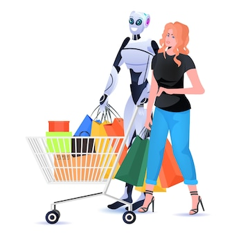 Modern robot with woman holding colorful purchases shopping bags artificial intelligence technology concept