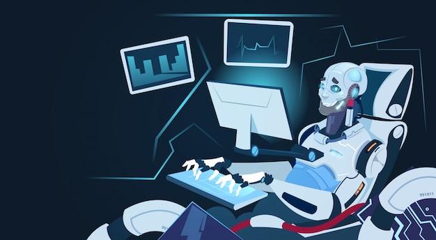 Modern robot working on computer futuristic artificial intelligence mechanism technology