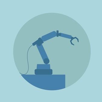 Modern robotic arm conveyor technology icon