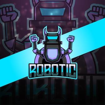 現代のロボットeスポーツマスコットロゴ