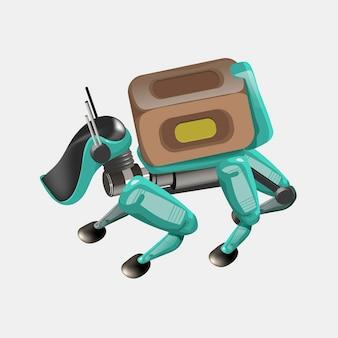 현대 로봇 배달 방법. 상자가 있는 로봇 개. 기술 선적 혁신 개념입니다. 현대 벡터 일러스트 레이 션. 외딴.