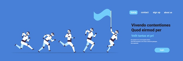 Modern robots team running hold flag artificial intelligence technology  banner