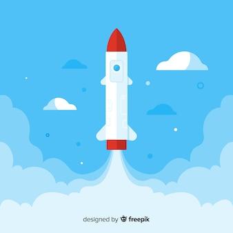 フラットデザインのモダンロケットコンポジション
