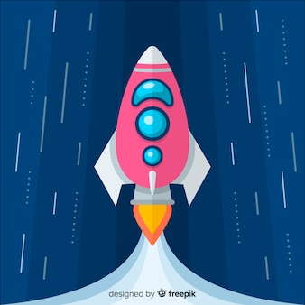 Modern rocket composition with flat design
