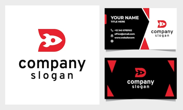 Modern rocket logo with flat design style and letter d initial, business card template