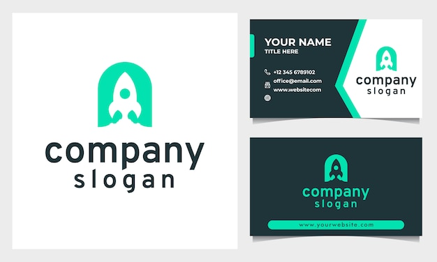 Modern rocket logo with flat design style and letter a initial, business card template