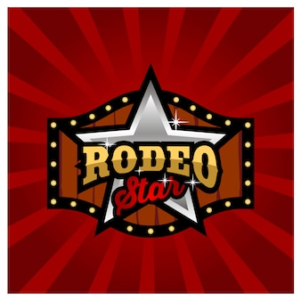 Modern rodeo sign board game logo design