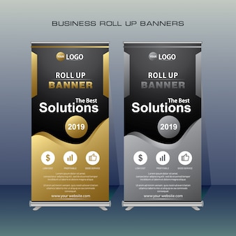 Modern roll up banner in gold and grey color.