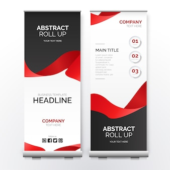Modern roll up banner with red ribbon