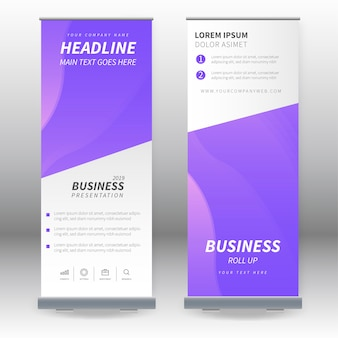 Modern roll up banners with realistic background