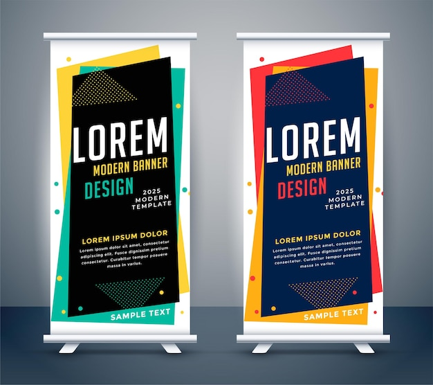 Modern roll up standee colors banner template