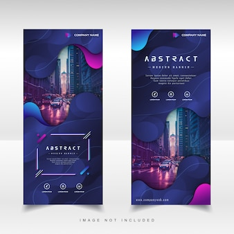 Modern roll up vertical banner with gradient liquid abstract background