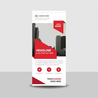 Red creativo arrotolare banner template