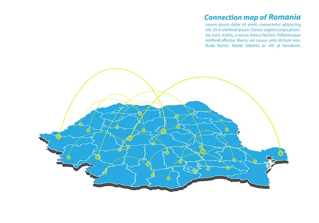 Modern of romania map connections network design