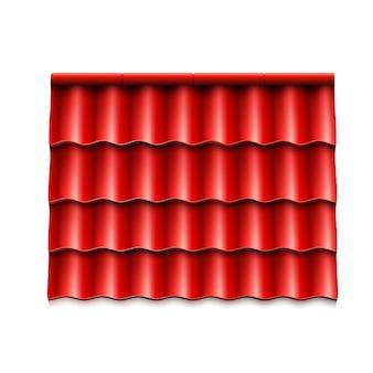 현대적인 지붕 덮개. 빨간색 골판지 지붕 타일.
