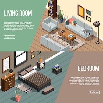 Коллекция баннеров modern room Бесплатные векторы