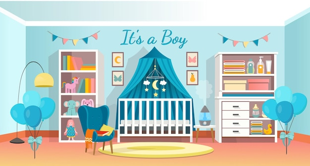 신생아를 위한 현대적인 객실 인테리어입니다. 유아용 침대, 옷장, 안락의자, 선반이 있는 아기를 위한 인테리어 침실입니다. 벡터 일러스트 레이 션.