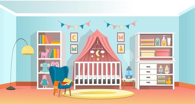 Modern room interior for newborn kid