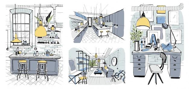 Современные интерьеры номеров в стиле лофт. набор рисованной красочные иллюстрации.