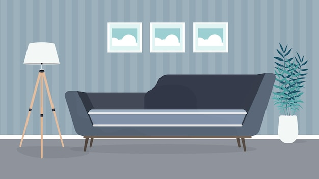 현대적인 객실입니다. 소파, 램프, 그림이있는 거실. 가구. 내부. .