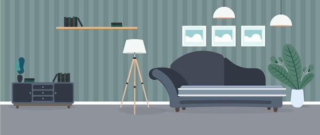 현대적인 객실입니다. 소파, 옷장, 램프, 그림이있는 거실. 가구. 내부. .
