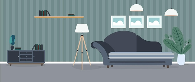 Modern room. living room with a sofa, wardrobe, lamp, paintings. furniture. interior. .